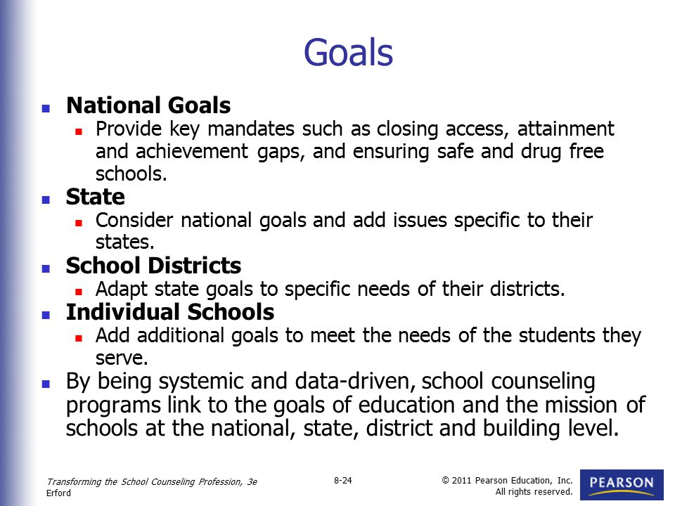 Goals National Goals State School Districts Individual Schools