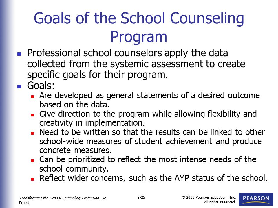 Goals of the School Counseling Program