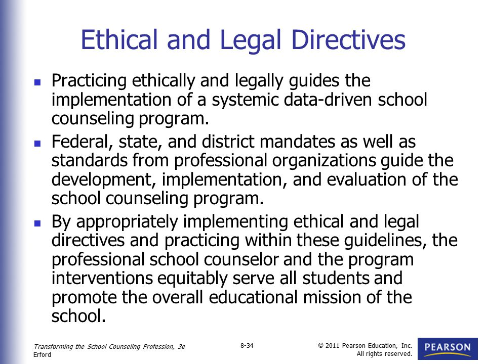 Ethical and Legal Directives