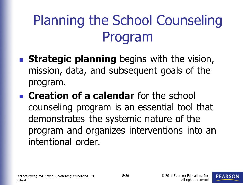 Planning the School Counseling Program