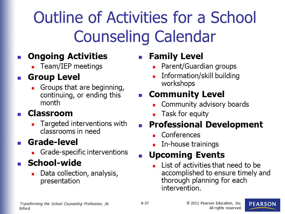 Outline of Activities for a School Counseling Calendar