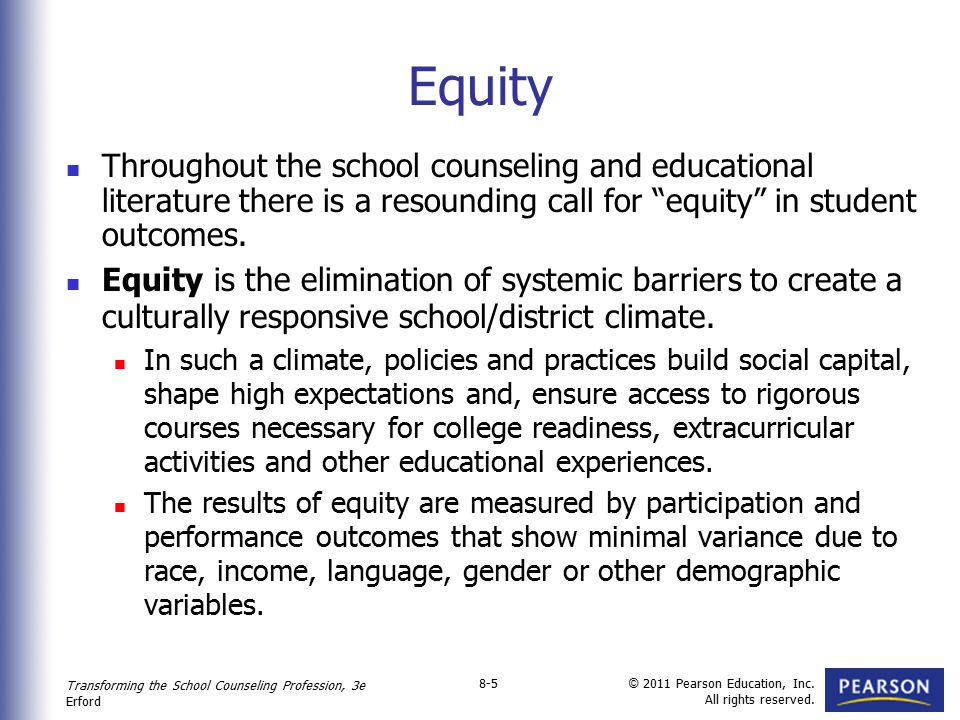 Equity Throughout the school counseling and educational literature there is a resounding call for equity in student outcomes.