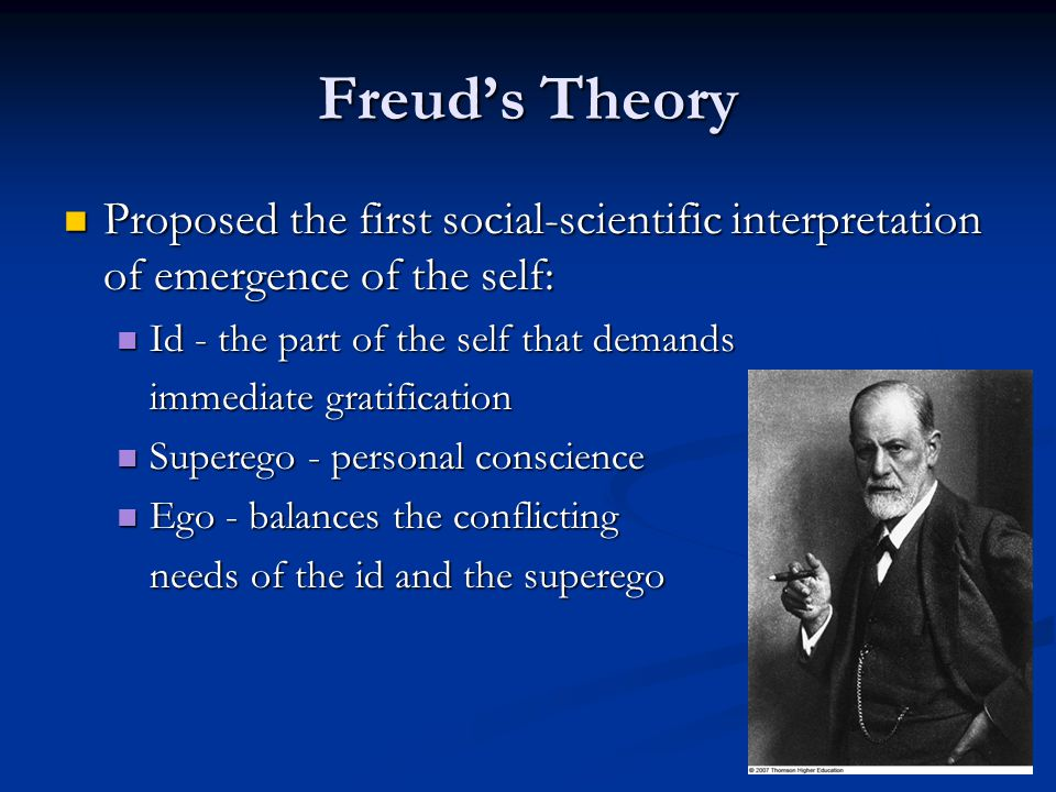 Freud's Theory Proposed the first social-scientific interpretation of emergence of the self: Id - the part of the self that demands.