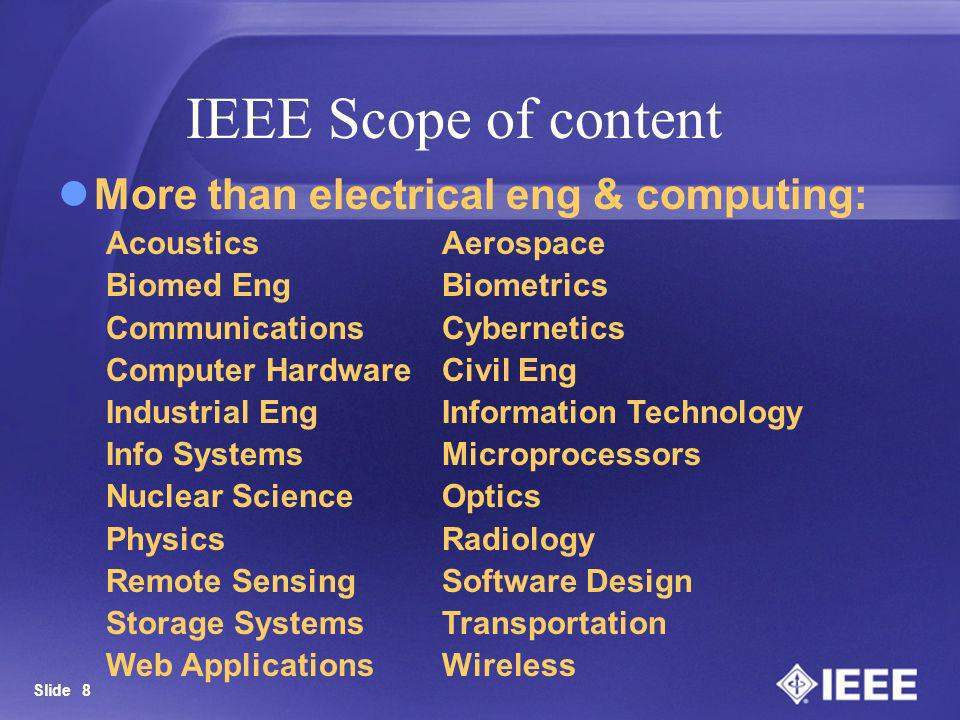 IEEE Scope of content More than electrical eng & computing: