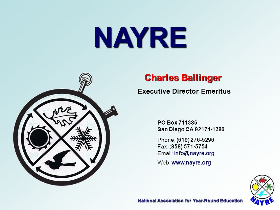 NAYRE Charles Ballinger Executive Director Emeritus PO Box 711386