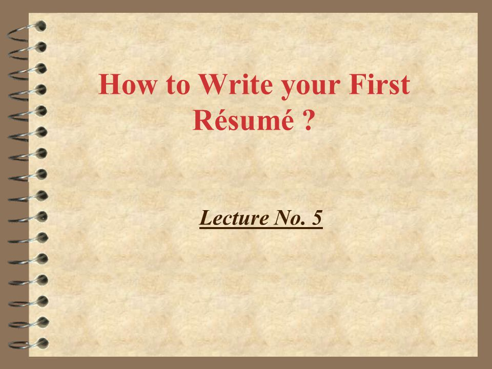 writing your first resume