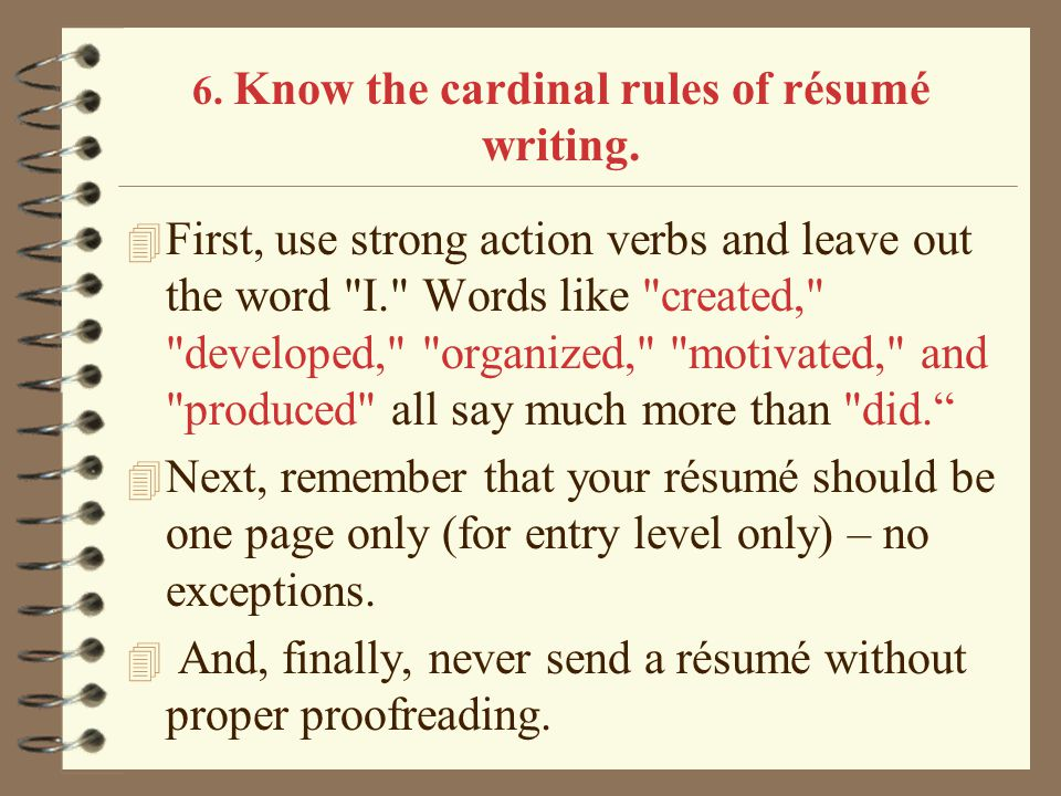 know the cardinal rules of rsum writing