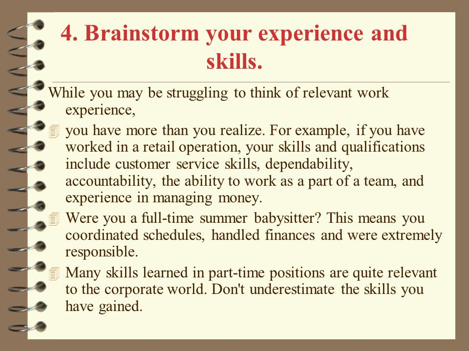 4. Brainstorm your experience and skills.