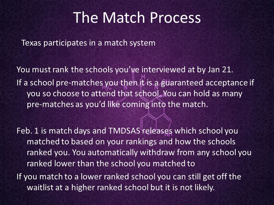 The Match Process Texas participates in a match system