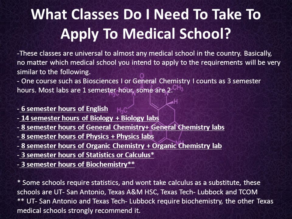 What Classes Do I Need To Take To Apply To Medical School