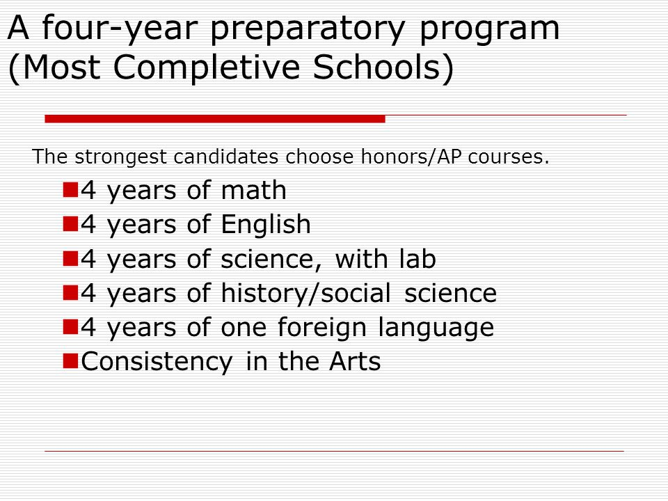 A four-year preparatory program (Most Completive Schools)