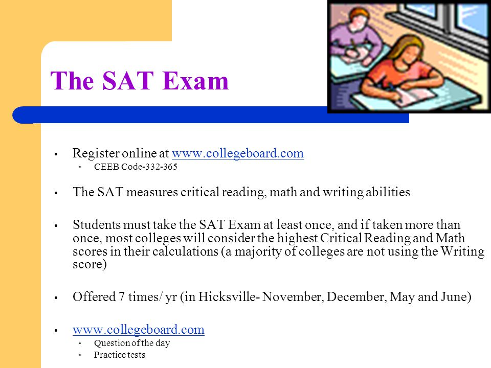 the sat exam Wondering when to take the sat we present the most current information about upcoming sat test dates and offer advice on picking the right sat date for you.