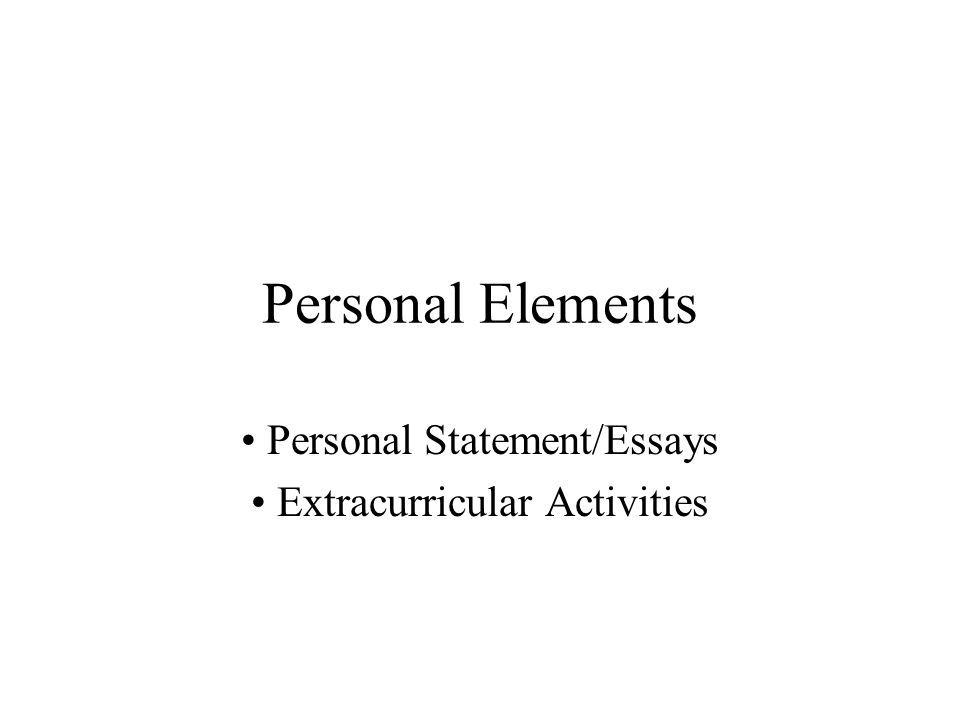 Personal Statement/Essays Extracurricular Activities