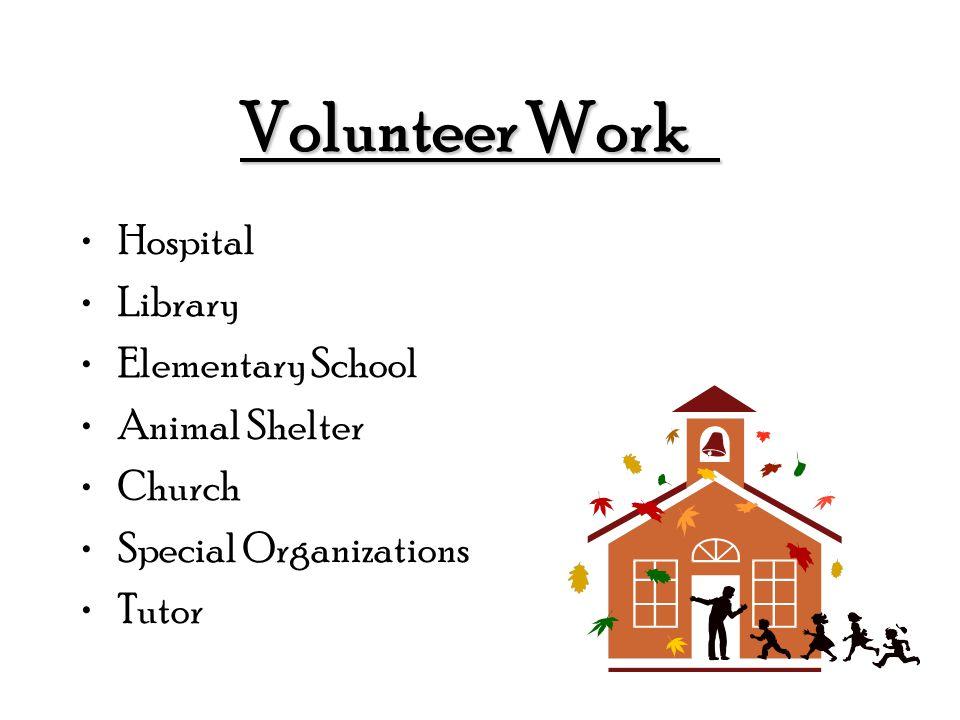 Volunteer Work Hospital Library Elementary School Animal Shelter