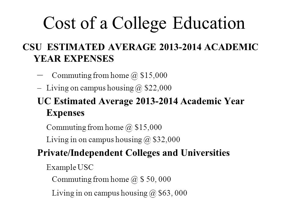 Cost of a College Education