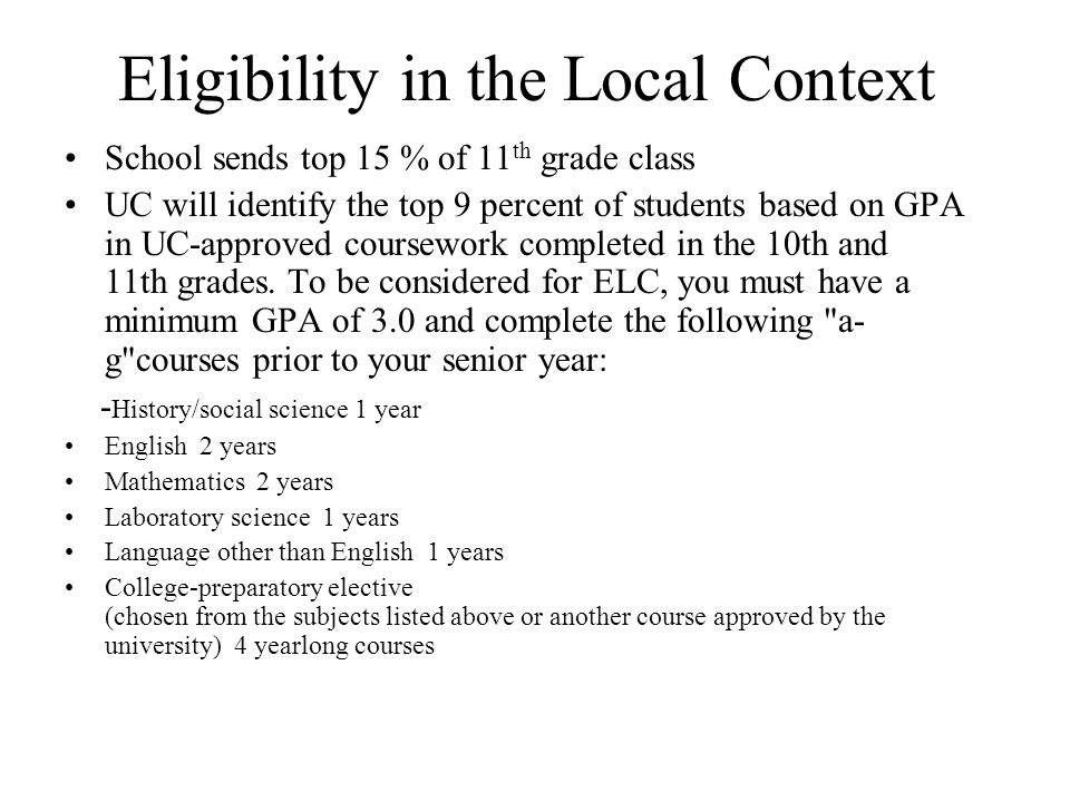Eligibility in the Local Context