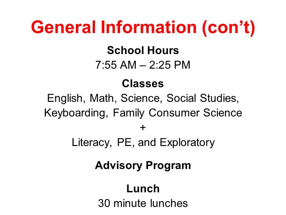 General Information (con't)