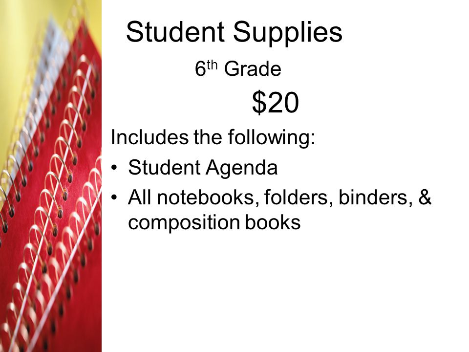 Student Supplies 6th Grade