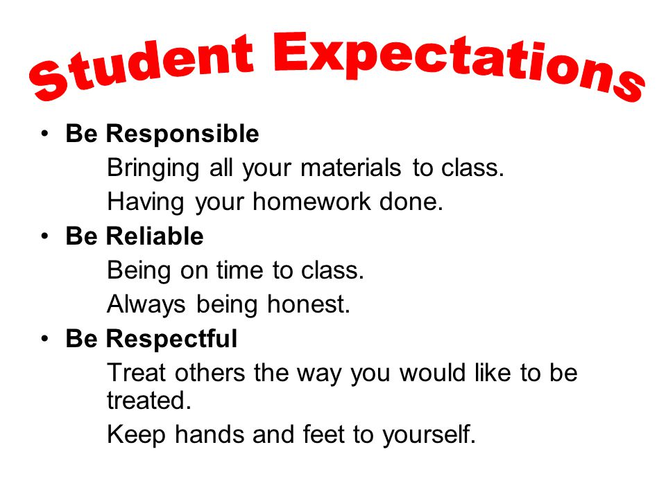 Student Expectations Be Responsible