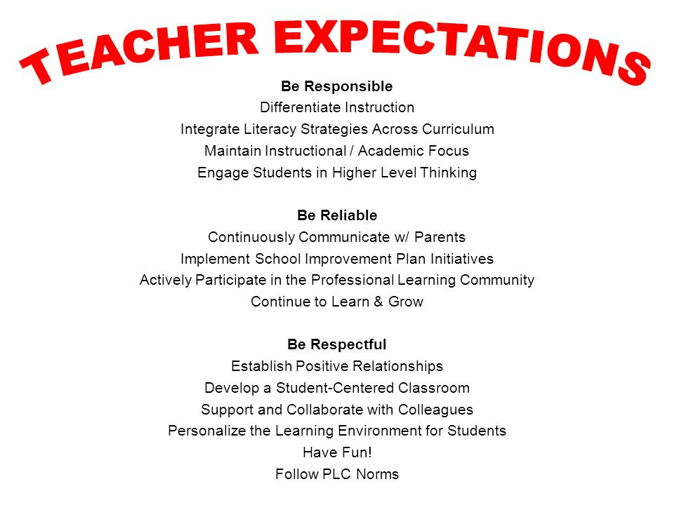 TEACHER EXPECTATIONS Be Responsible Differentiate Instruction