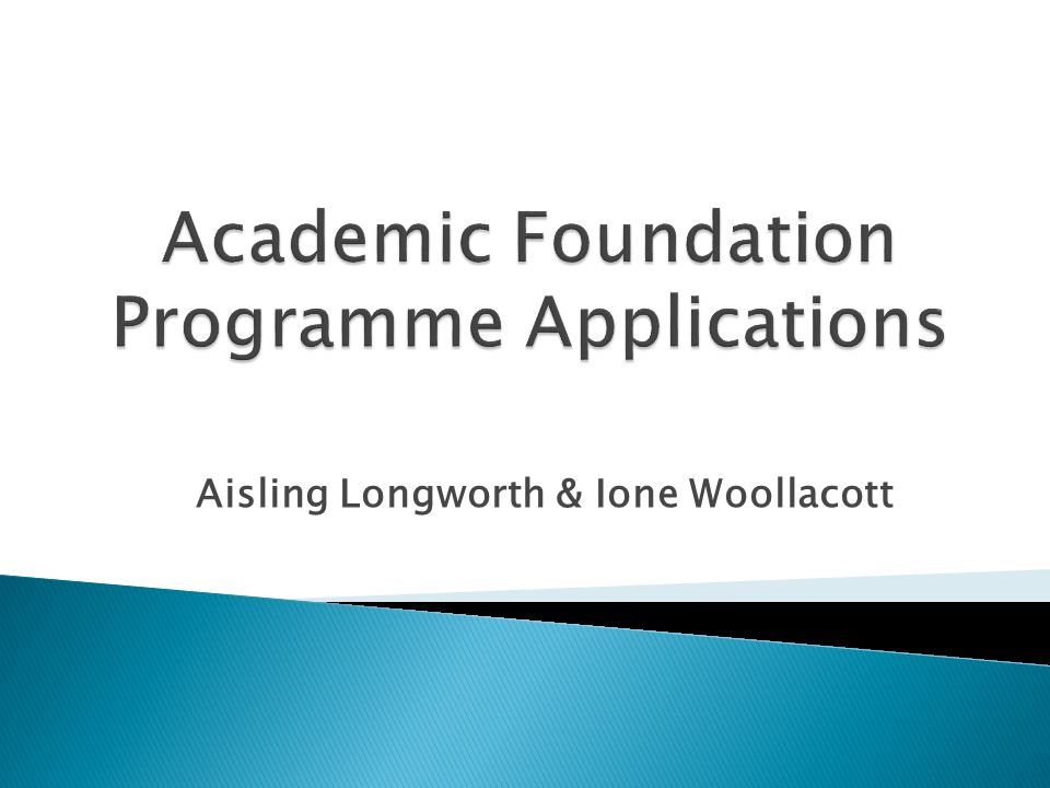 Academic Foundation Programme Applications