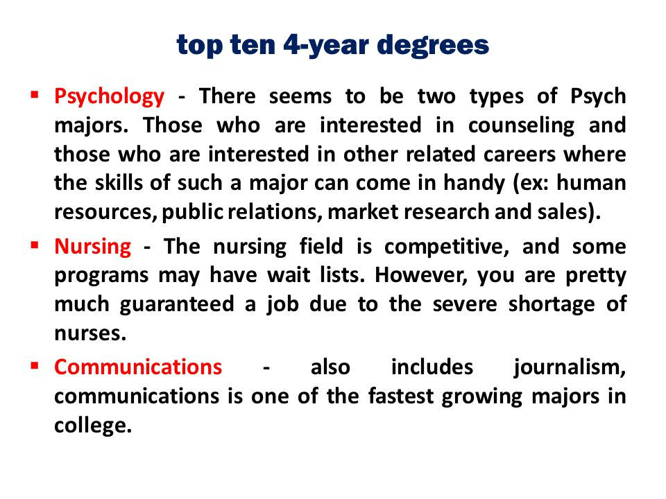 top ten 4-year degrees