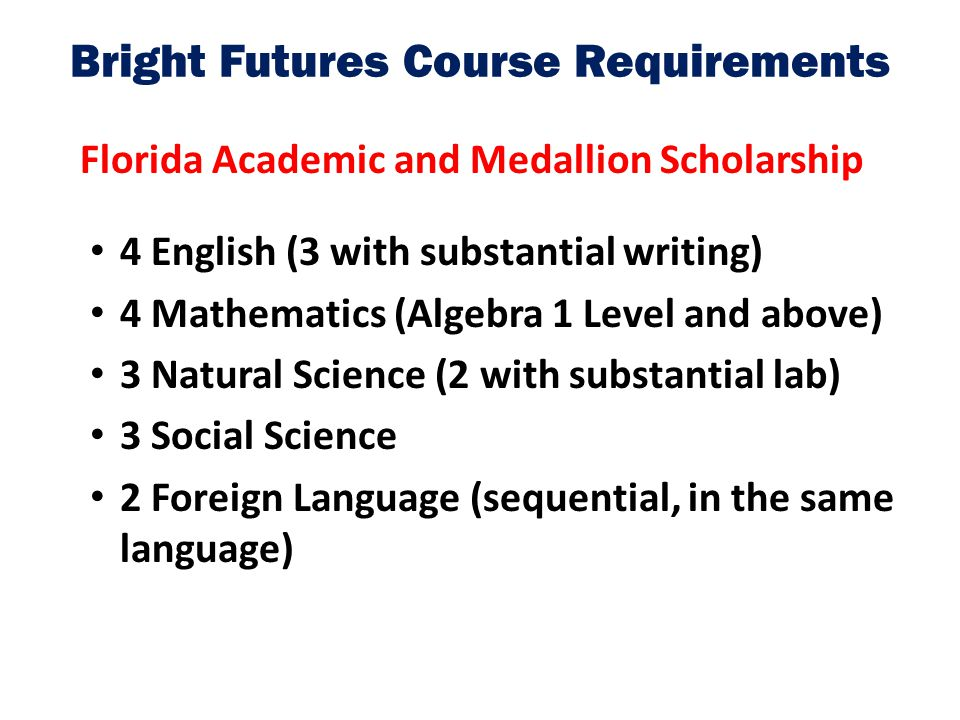 Bright Futures Course Requirements