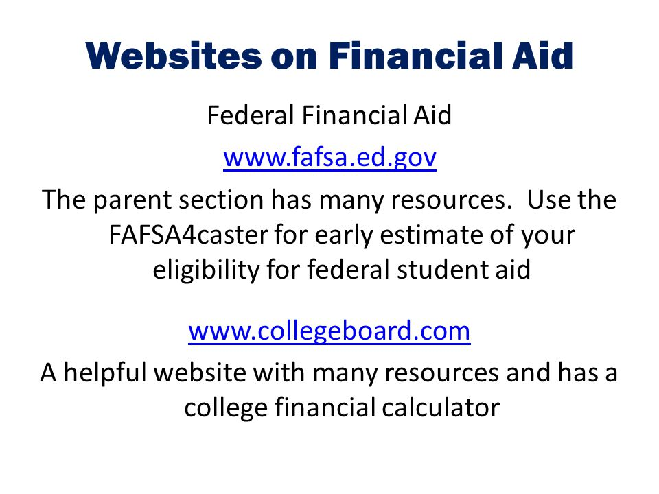 Websites on Financial Aid