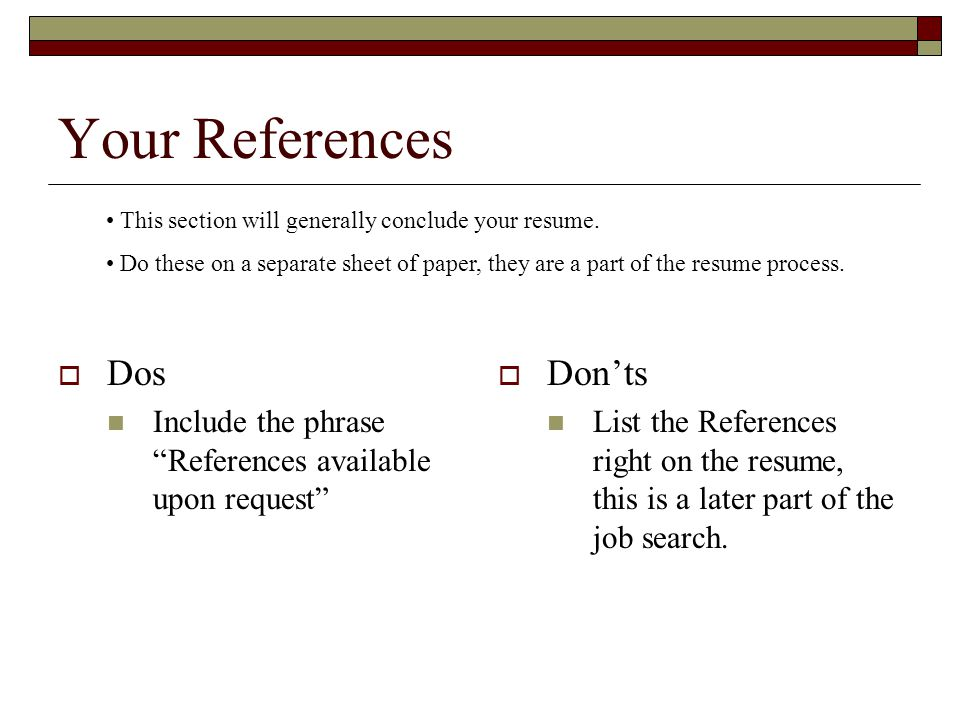 Your References Dos Don'ts