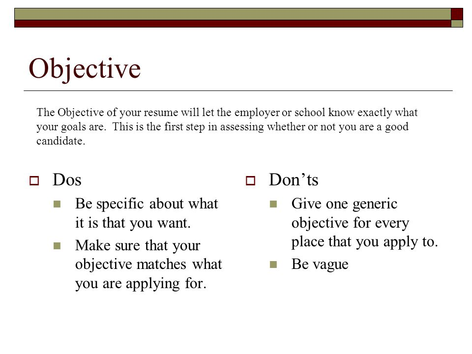 Objective Dos Don'ts Be specific about what it is that you want.
