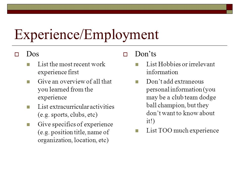 Experience/Employment