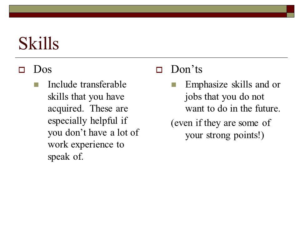 Skills Dos.