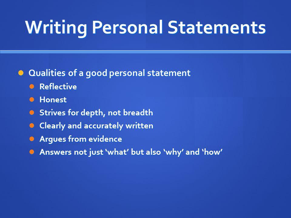 Writing Personal Statements