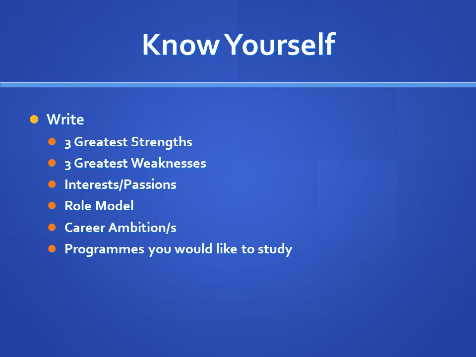 Know Yourself Write 3 Greatest Strengths 3 Greatest Weaknesses