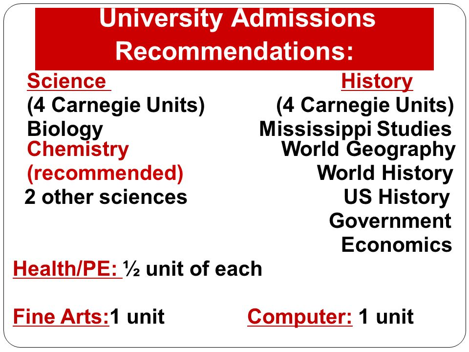 University Admissions Recommendations: