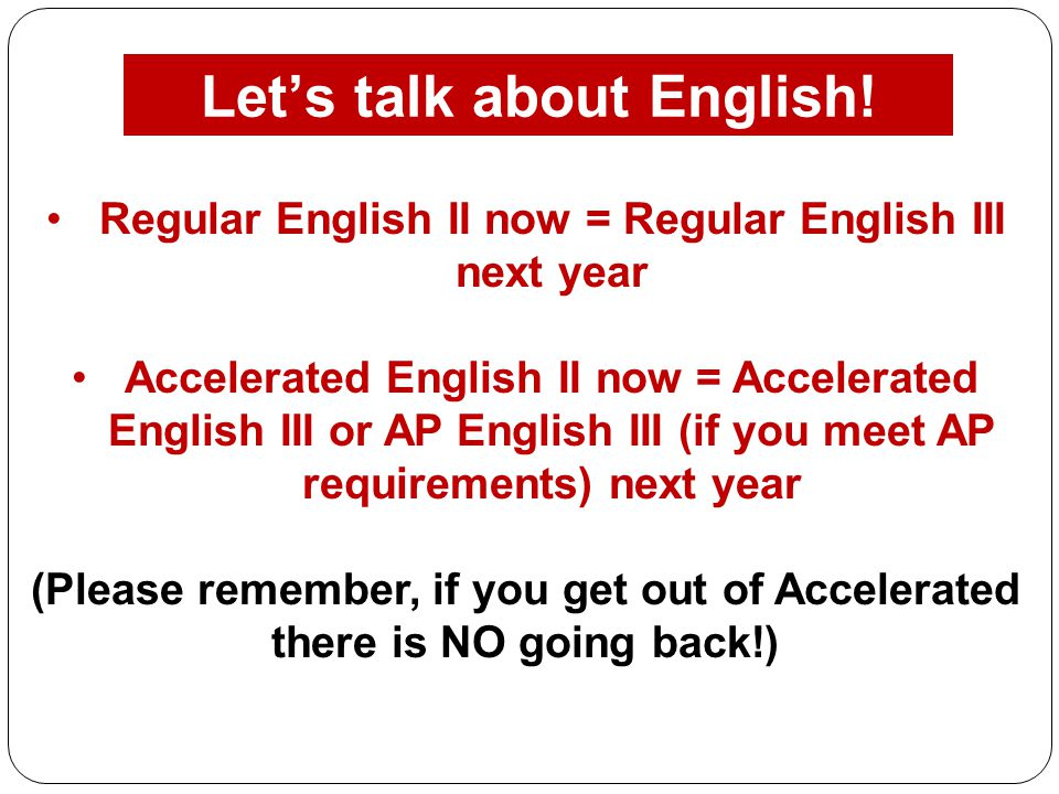 Let's talk about English!