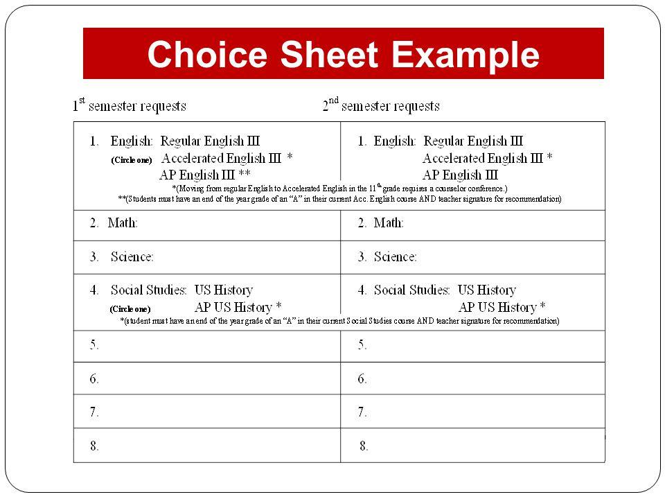 Choice Sheet Example