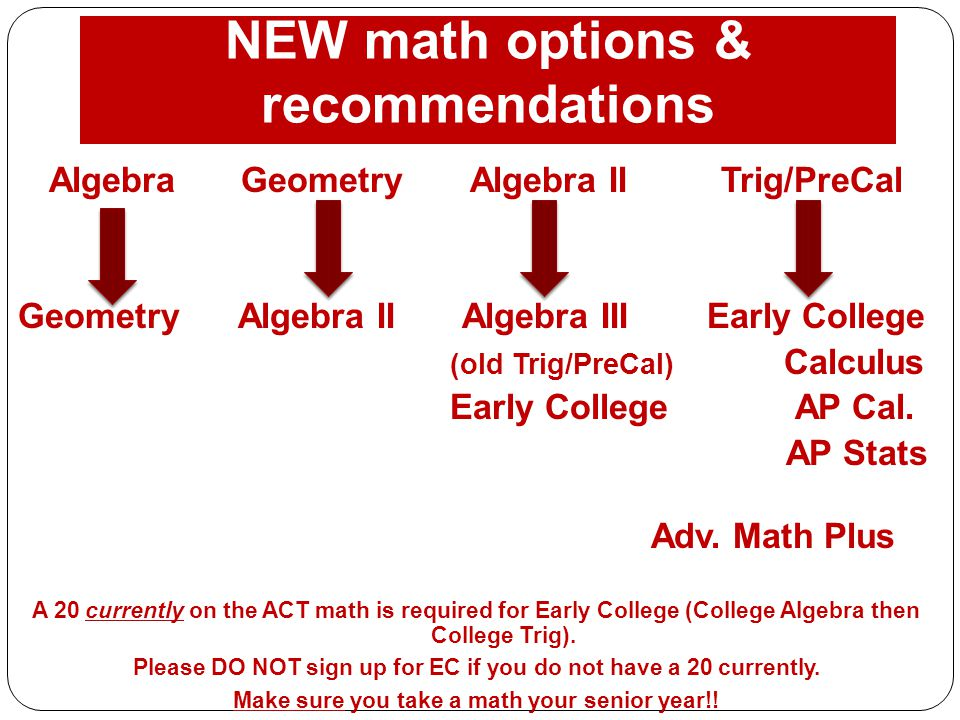 NEW math options & recommendations