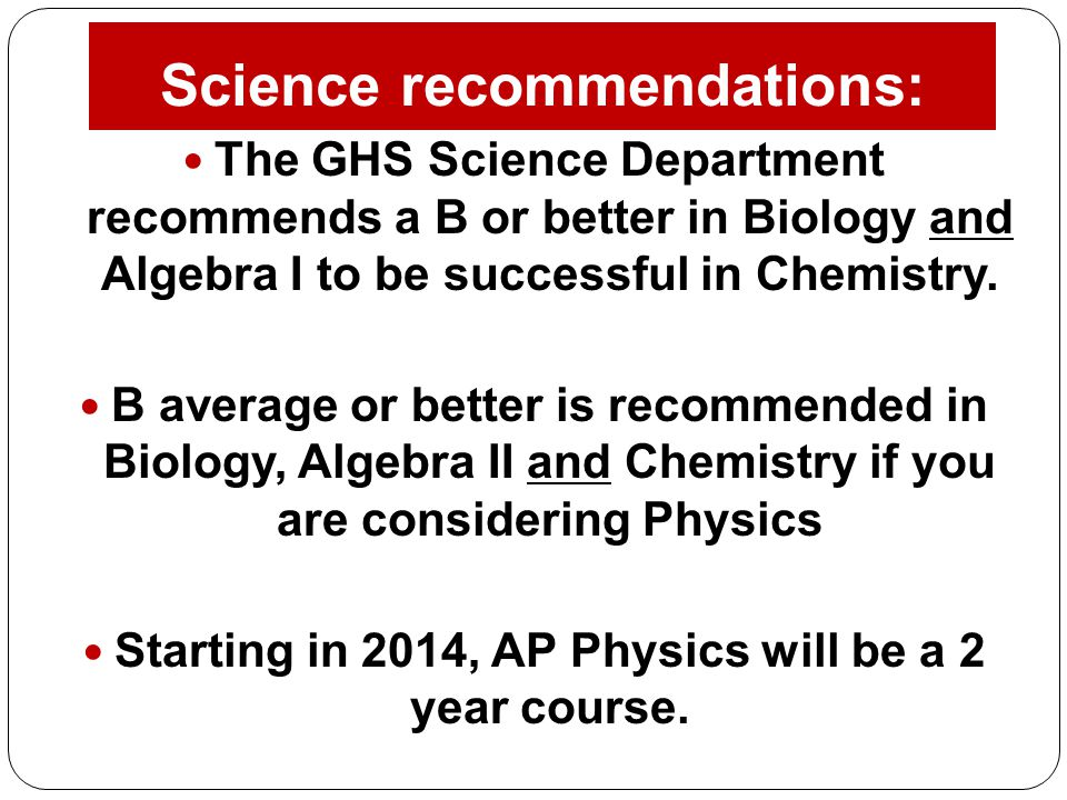 Science recommendations:
