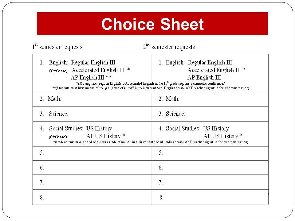 Choice Sheet