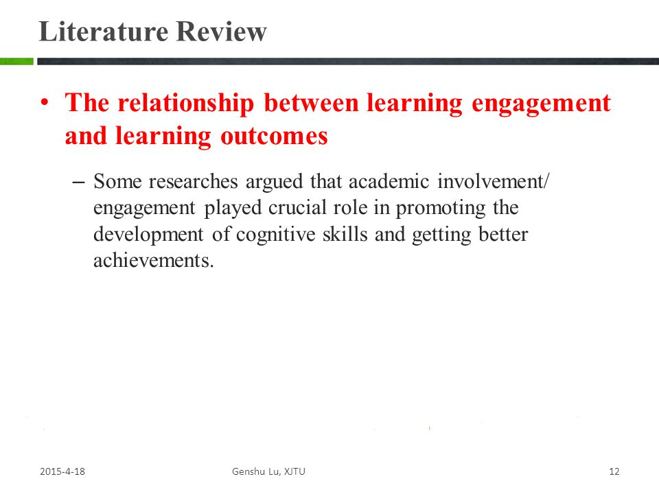 Literature Review The relationship between learning engagement and learning outcomes.