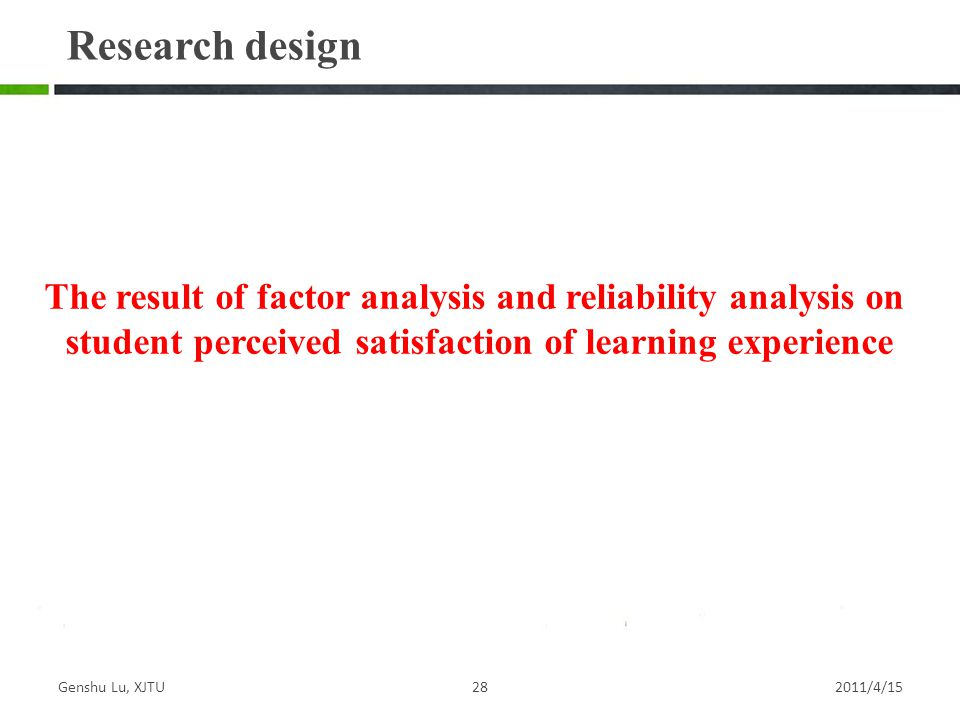 Research design The result of factor analysis and reliability analysis on. student perceived satisfaction of learning experience.