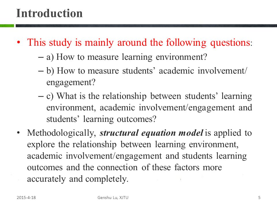 Introduction This study is mainly around the following questions: