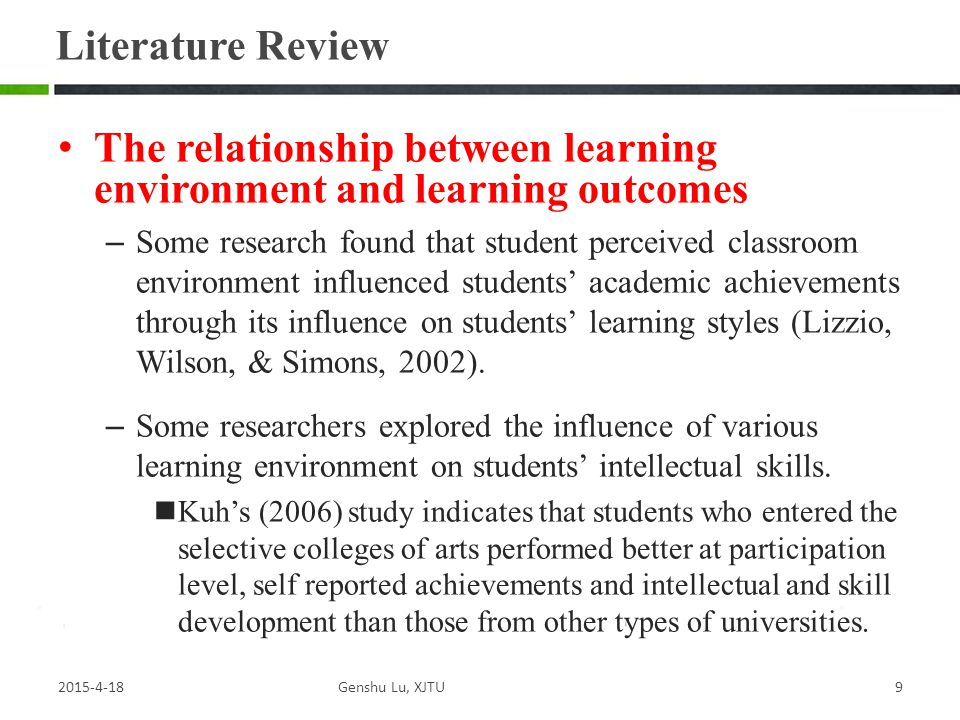 The relationship between learning environment and learning outcomes