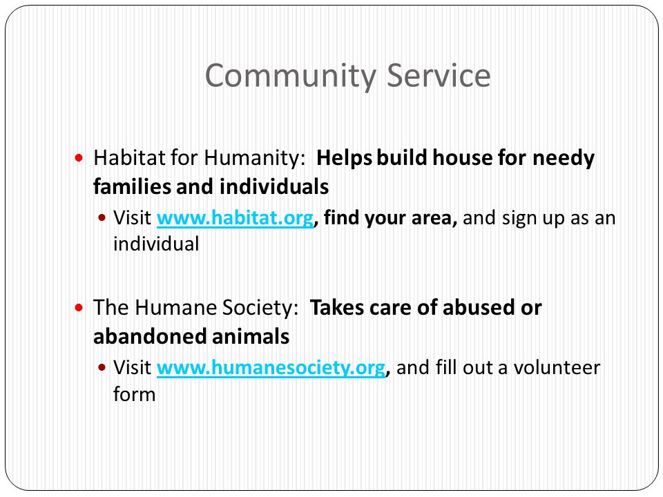 Community Service Habitat for Humanity: Helps build house for needy families and individuals.