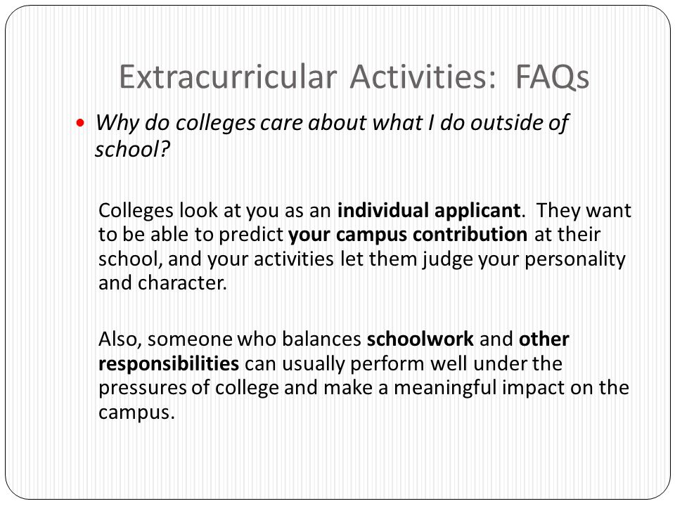 Extracurricular Activities: FAQs