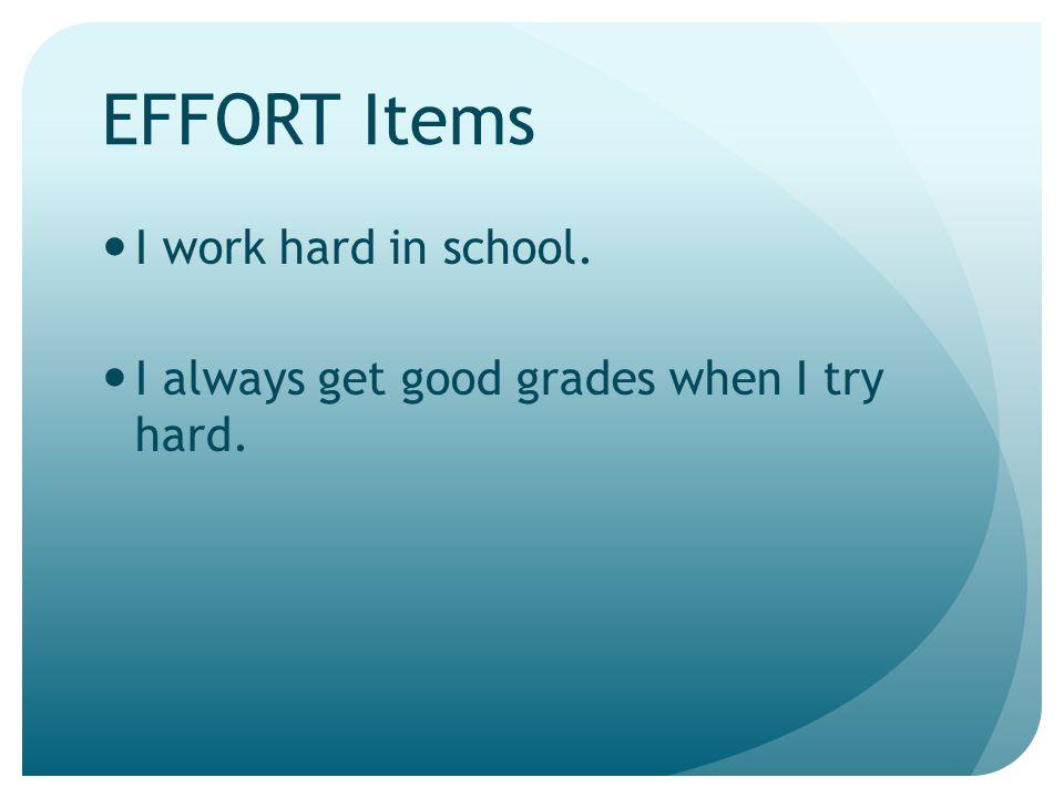 EFFORT Items I work hard in school.