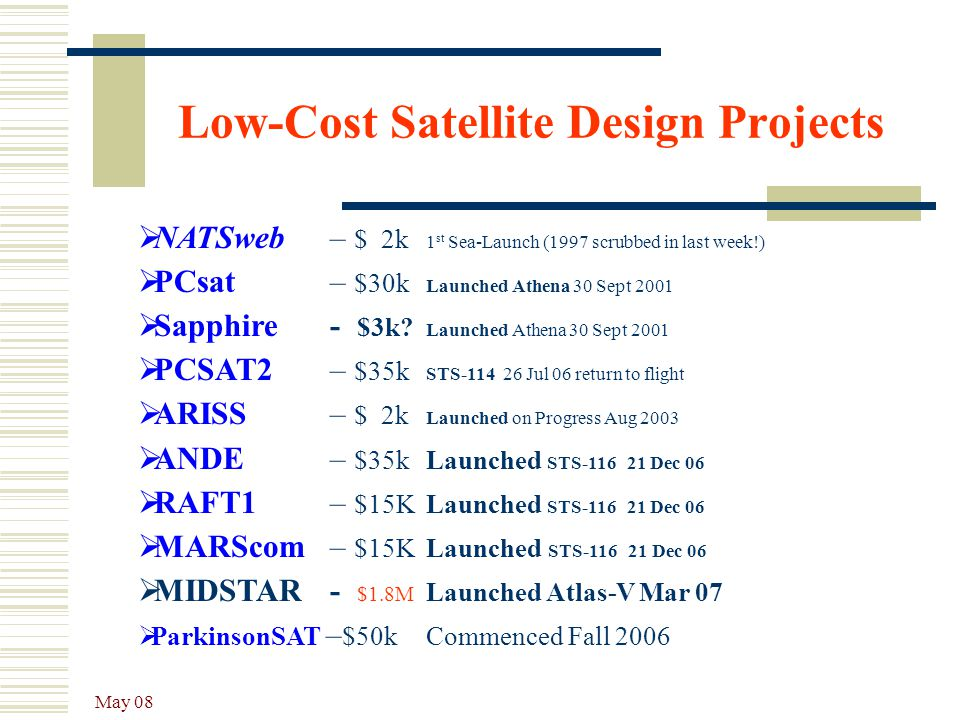 Low-Cost Satellite Design Projects