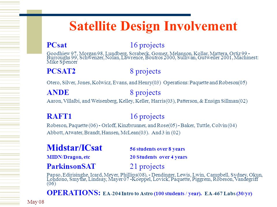 Satellite Design Involvement