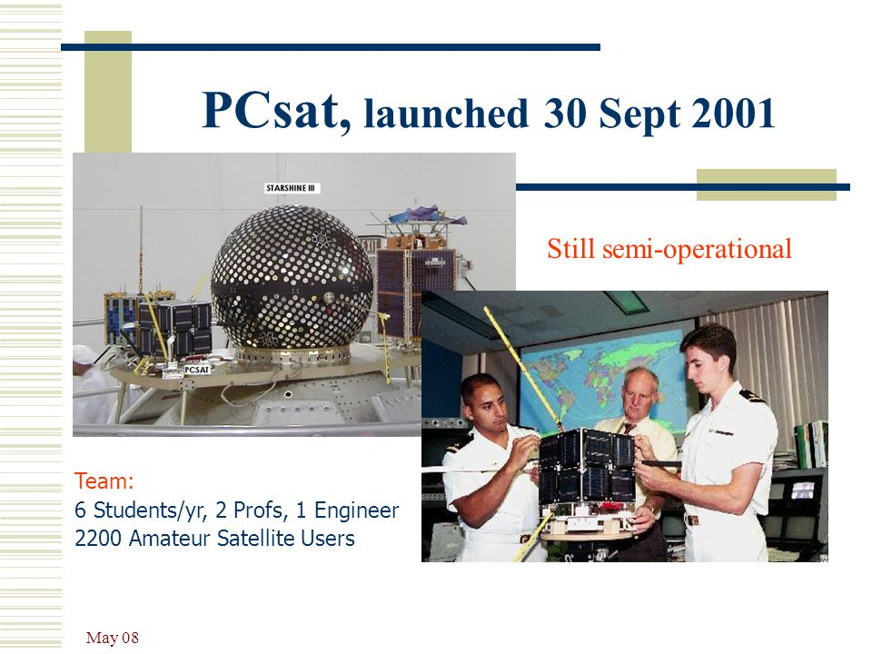 PCsat, launched 30 Sept 2001 Still semi-operational Team: